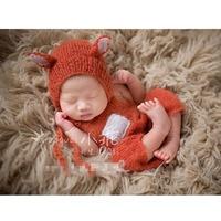Newborn Fox Hat Newborn Mohair Romper Outfit Handmade Knitted Baby Hat Animal Bonnet Photo Props Newborn