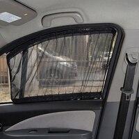 50S Aluminum Shrinkable Windowshade Curtain For Auto Car Front Rear Windows Mesh Black