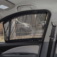Aluminum Shrinkable Windowshade Curtain For Auto Car Front Rear Windows Mesh black (Pack of 2)