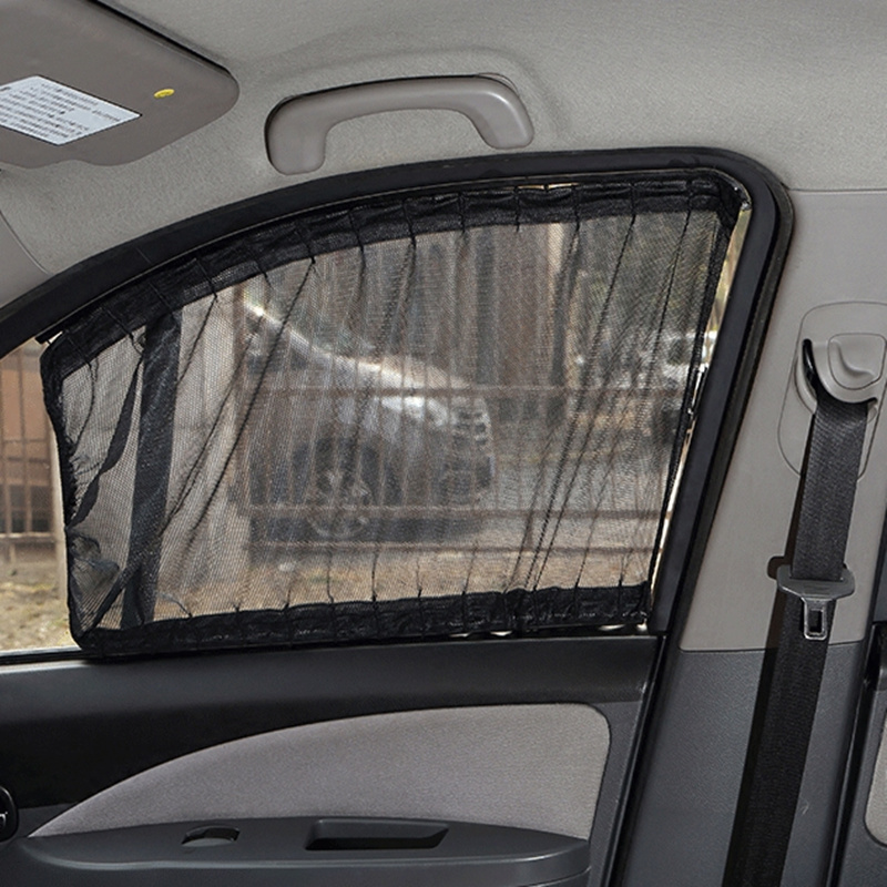 Aluminum Shrinkable Windowshade Curtain For Auto Car Front Rear Windows - Mesh black (Pack of 2)