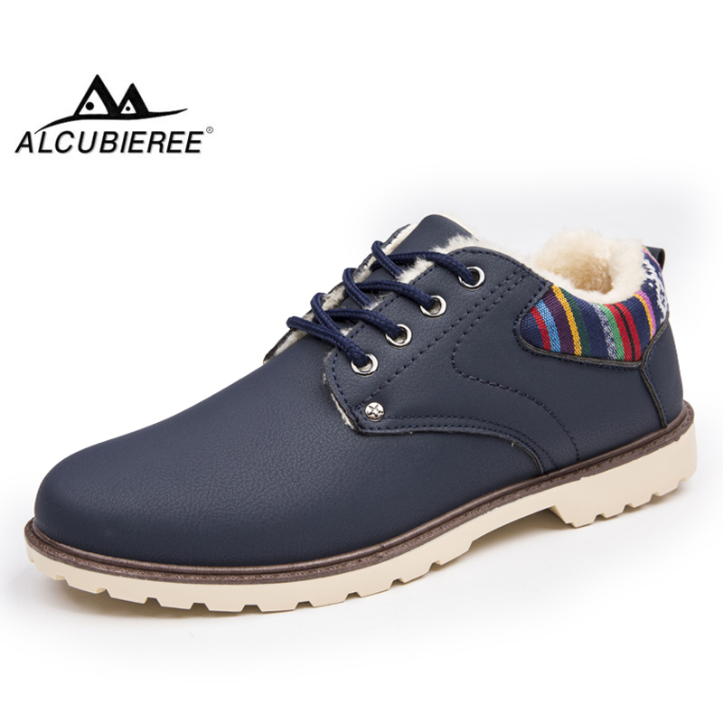 ALCUBIEREE Brand Fashion Sneakers Men Casual Lace-up Winter Warm Ankle Shoes with Fur Outdoor Non-slip Snow Boots Masculina Bota hot sale winter new men winter snow boots brand outdoor keep warm fashion casual shoes ankle lace up non slip man cotton shoes