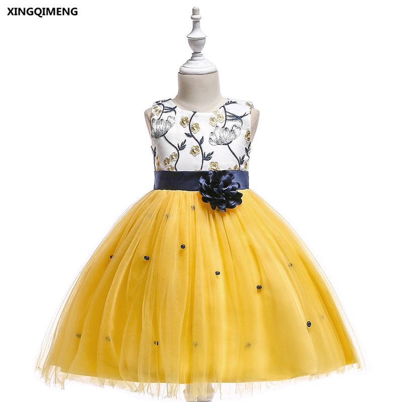 In Stock Yellow Short Embroidery Flower Girl Dresses 3 10y White