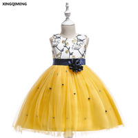 In Stock Yellow Short Embroidery   Flower     Girl     Dresses   3-10Y White Formal   Dress   for Little   Girls   Cheap Red Pageant Tulle Ball Gown