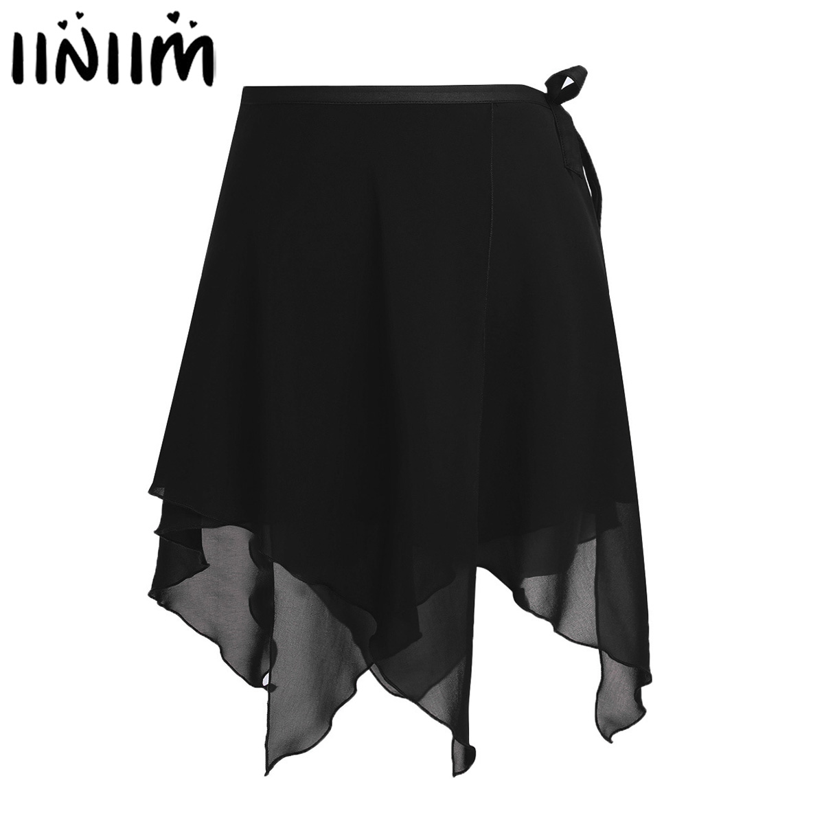 Women Asymmetric Ballet Dance Skirts Chiffon Ballet Wrap Skirt Dance Skate Wrap Over Scarf With Waist Tie Adult Gymnastic Skirt