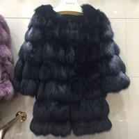 Плюс Размеры реального длинный Лисий Мех животных пальто толстый теплый натуральный Меховая куртка натуральный Мех животных Женский Пальт
