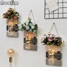 Креативное подвесное стекло+ деревянная база цветочный горшок Домашнее украшение стены