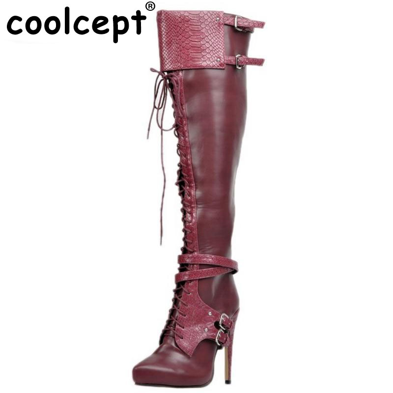 Coolcept Brand New Women Thin High Heel Over Knee Boots Woman Pointed Toe Knight Boot Lace Up Buckle Heels Shoes Size 34-47 cicime summer fashion solid rivets lace up knee high boot high heel women boots black casual woman boot high heel women boots