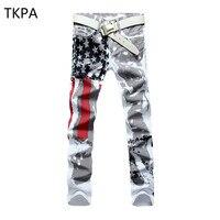TKPA White USA Flag Jeans Men Fashion Red Striped Black Star High Elastic Slim Denim Pants