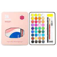 36 Colors Watercolor Pigment Portable Water Color Paint Set Iron Box Student Hand-painted Painting Pigment Art Supplies