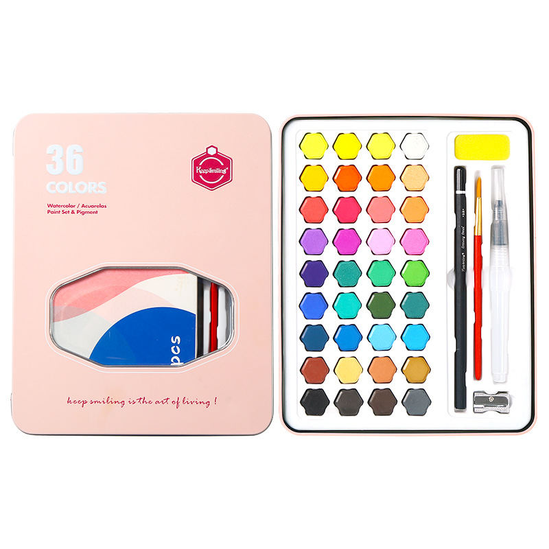36 cores pigmento aquarela pintura da cor de agua portatil defina a caixa de ferro mao