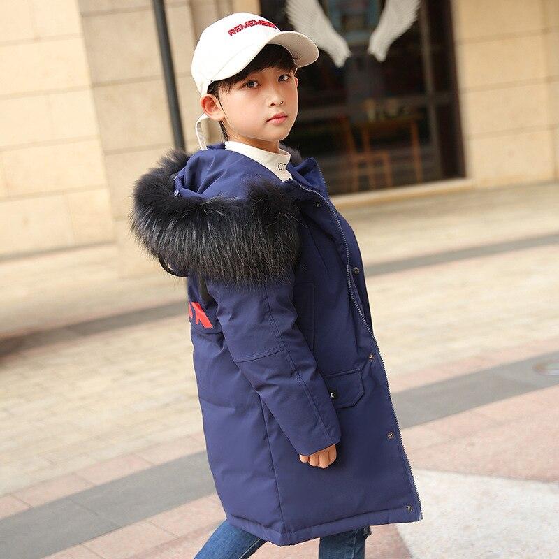 Children Winter Jacket for Boys Fur Hooded Long Coat Parka Kids Big School 8 10 14 Teens Boy 30 Russia Winter Clothing Overcoat
