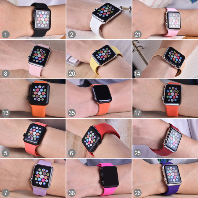 soft Silicone Sports Band for Apple Watch 5 4 3 2 1 38MM 42MM Bands