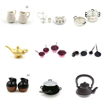 1:12 Dollhouse Miniature Kitchen Utensils Cooking Ware Mini Pot Boiler Pan with Lid Coffee Tea Cups Ceramic Pot Play Kitchen Toy 1 12 dollhouse miniature potted plant ceramic pot brasiletto