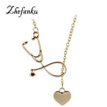 4 Colors Stethoscope necklace Heart and Stethoscope Pendant for Doctor nursing student Gift necklace for nurses
