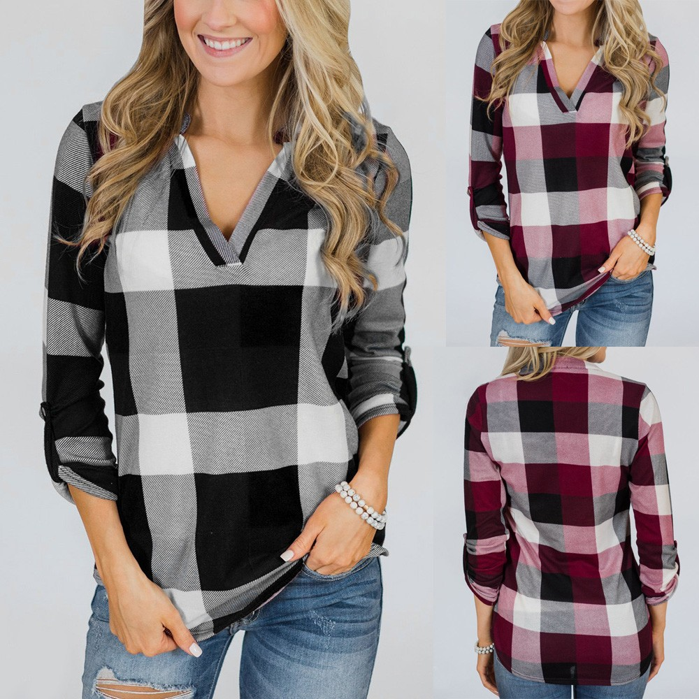 Blouses & Shirts Autumn Plaid Womens Blouse Lattice Shirt Women Casual Coat Camisas Mujer Top Female Ladies Tops Chemise Femme Camisa Feminina Up-To-Date Styling