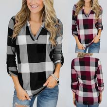 20b2ddd89ad (Ship from US) womens tops and blouses Roll Up Long Sleeve deep V Neck  Button Plaid Lattice Print Blouse autumn women clothes blusas
