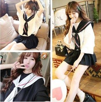 Korean female student sailor suit summer JK uniform school uniform class Japanese short-sleeved navy wind sweet college wind