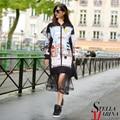 New European Women Spring Black Casual Printed Dress Mandarin Collar Full Sleeve Chiffon Bottom Zipper Closure Hip Vestido 2142
