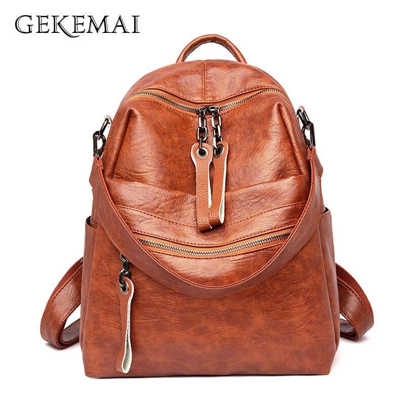2019 Vintage Natural Leather Women Backpack Luxury Travel Backpack Designer Female School Bags For Teenage Girls Bookbag Mochila