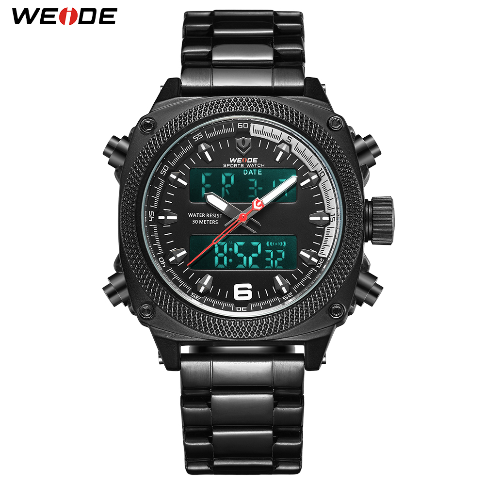 WEIDE Men Sports Watch Calendar Digital Quartz Silver Stainless Steel Band Outdoor Wristwatch Black Clock Relogio Masculino HourWEIDE Men Sports Watch Calendar Digital Quartz Silver Stainless Steel Band Outdoor Wristwatch Black Clock Relogio Masculino Hour
