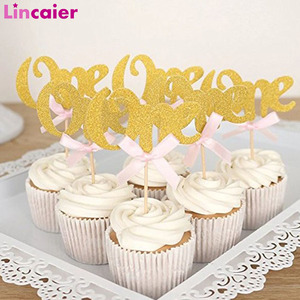 12Pcs Glitter Paper One Cupcake Toppers Happy Birthday Decoration First Birthday Baby Boy Girl Party My One Year 1st Birthday