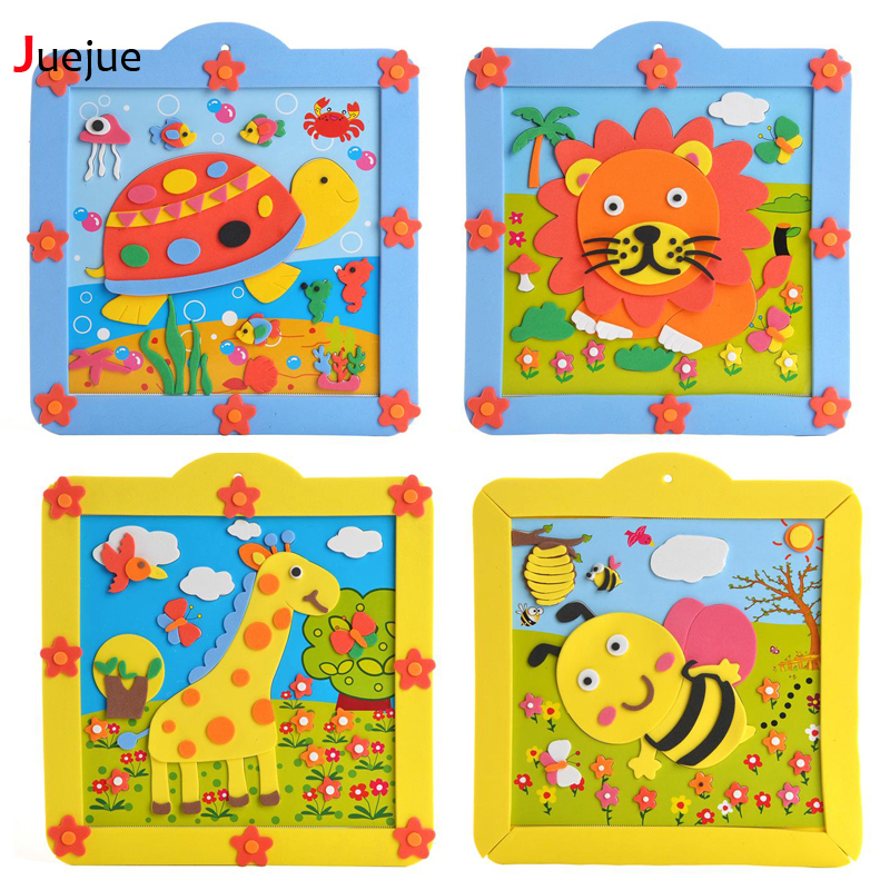 Toys For Early Childhood : New design diy eva d animal photo frame pot children hand