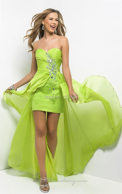 New Arrival Lime Green Prom Gowns 2015 Crystal Sweetheart Dress To Party Short  Front Long Back Chiffon Vestido De Festa MC160 89cfd960692a