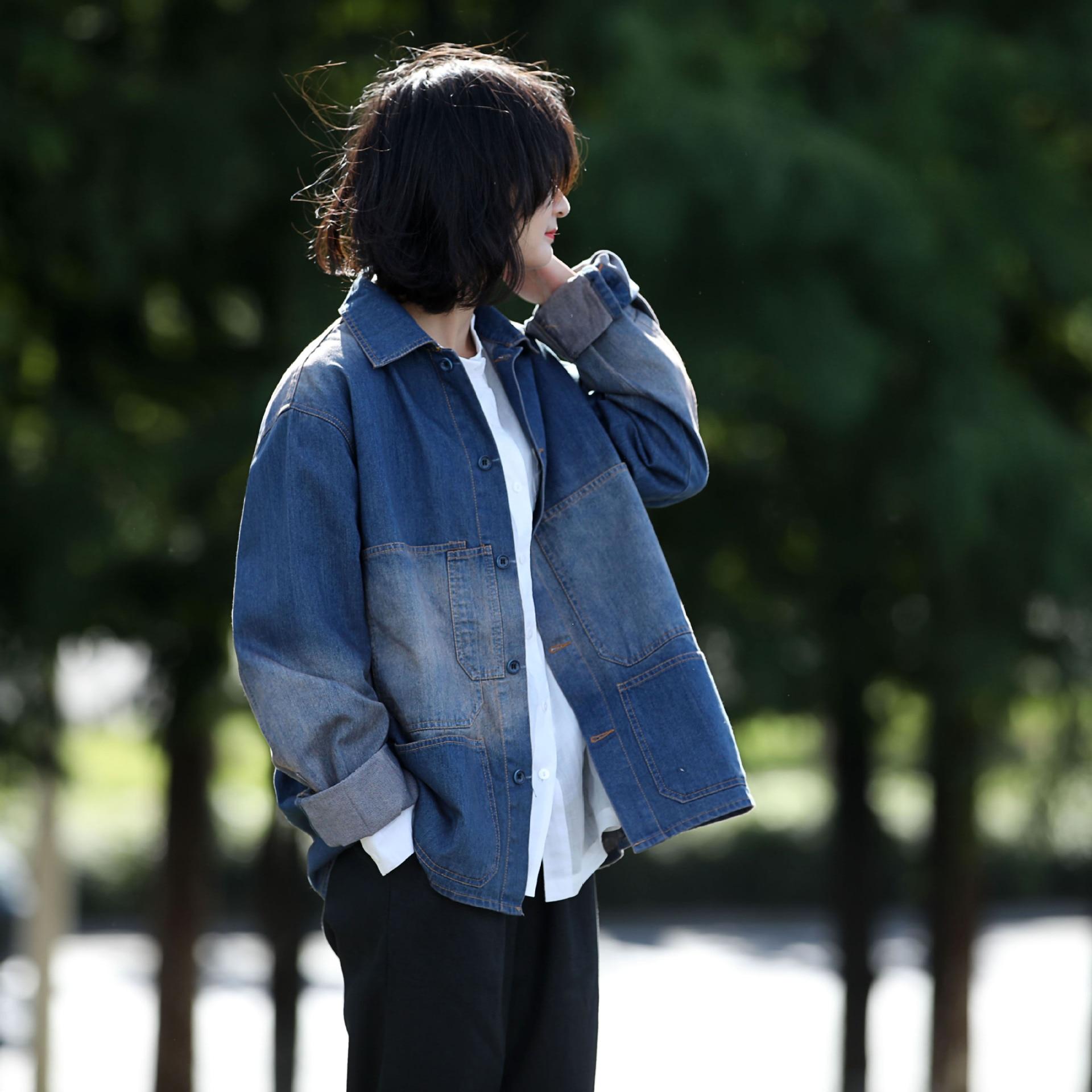 女性デニムパッチワーク綿ジャケット生き抜くシンプルなカジュアルコート女性 Demim オーバーコート  グループ上の レディース衣服 からの ベーシックジャケット の中 1