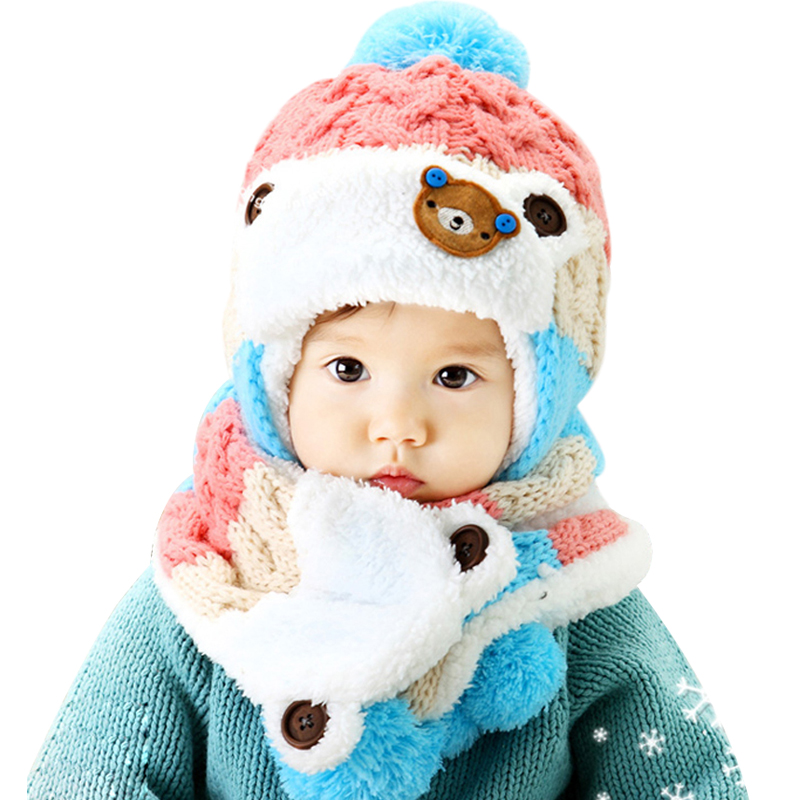 Baby Winter Hat and Scarf Set Very Warm Infant Beanie Cap for Children Boys Girls Animal Bear Style Kids Crochet Knitted Shawl