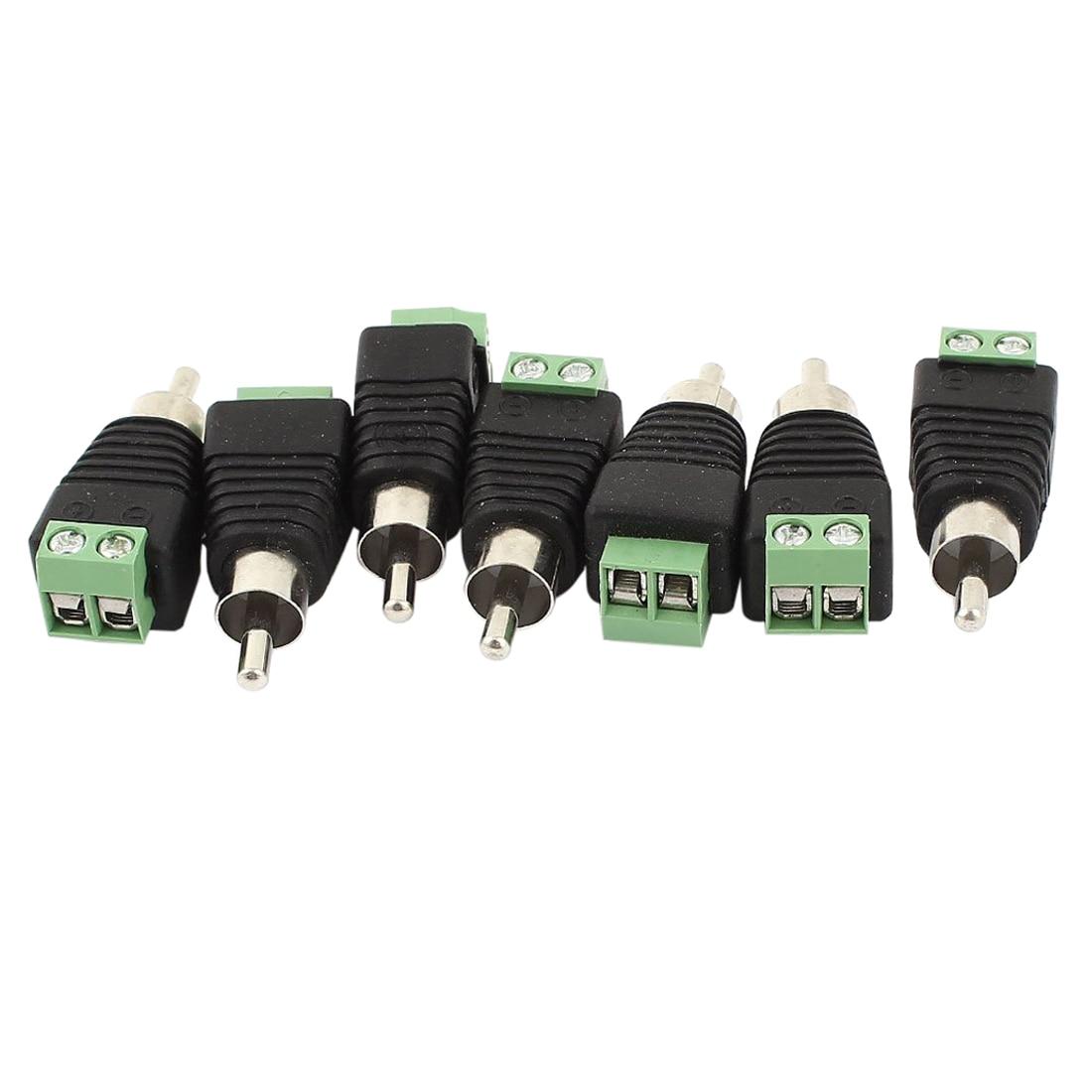 7 x CCTV UTP audio AV RCA male, video balun terminal screw, green, black 3pcs lot cctv phono rca male plug to av terminal connector video av balun international standard