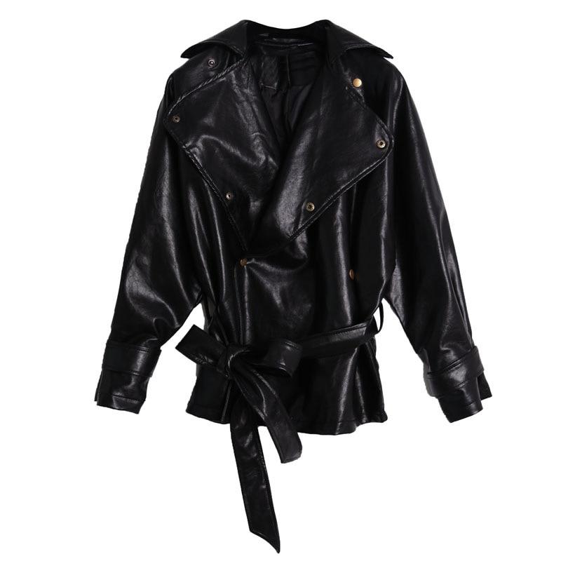 Elegance Fashion New Women's Loose Washed Pu   Leather   Jacket Fashion Sashes Design Bright Colors Coats New Ladies Basic Jackets