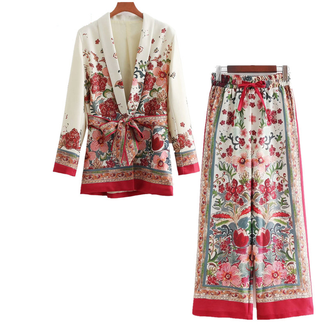 2 piece set women Suit female  retro style flower pattern European-style casual holiday Sandy beach jacket + pants pajamas suit
