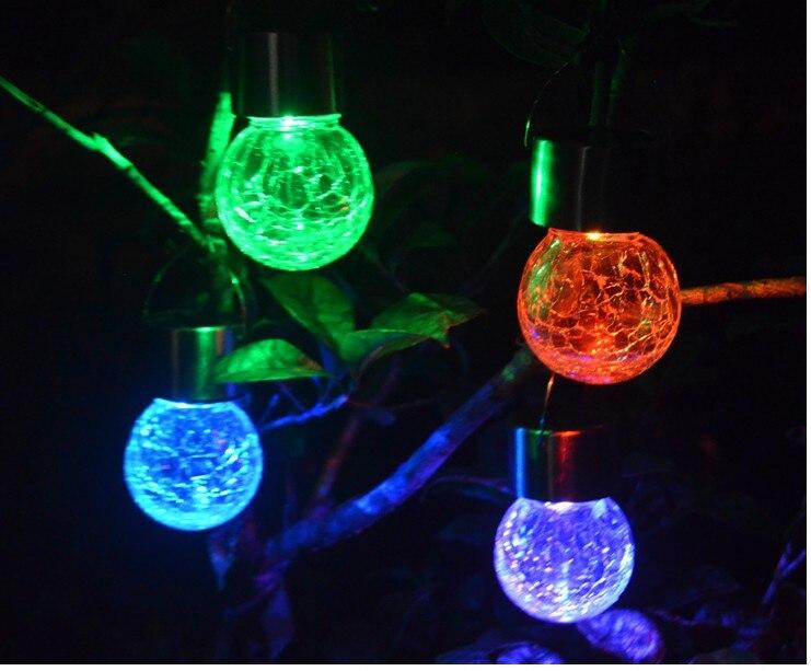 Outdoor Solar Powered Led Hanging Lamp Decorative Colorful Led Ball Globe Lamps Cracks Ball Hanging Light Solar Tree Lights