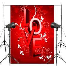 Mot amour fond rouge photographie fond Studio accessoires mur chambre Photo toile de fond 5x7ft