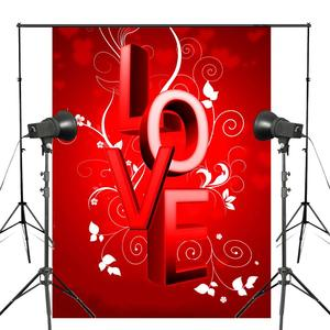 Image 1 - Word LOVE Background Red Photography Background Studio Props Wall Bedroom Photo Backdrop 5x7ft