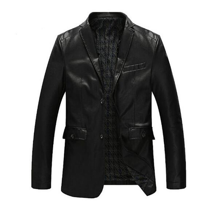 Fashion PU Leather Jacket Men Spring And Autumn Clothing Outerwear Suit Collar Business Casual Leather Jacket For Man