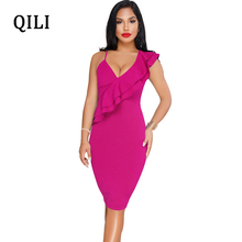 QILI New Summer Women Dress Sexy Deep V-Neck Ruffles Solid One Sleeve Bodycon Dresses Evening Party Club Vestidos Female