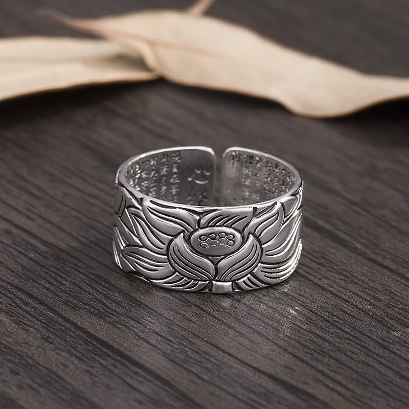 Prettyland Silver-plated Jewelry Vintage Amulet Buddha Lotus Baltic Buddhist Scriptures Opening Rings For Men Women