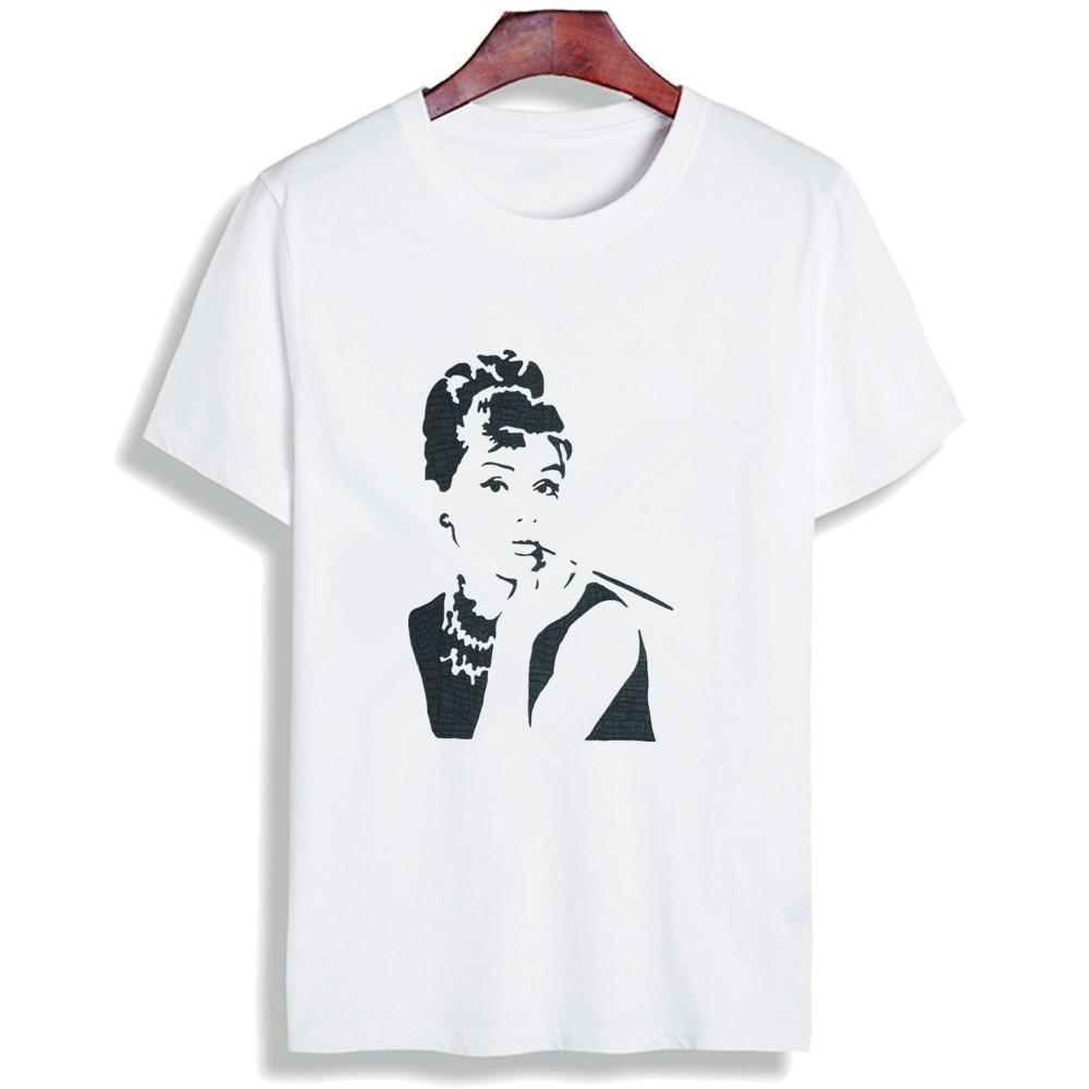Fashion Short Sleeve T Shirt Retro Audrey Hepburn Motivation Printed 100% Cotton Top Tees Women O Neck T-Shirt Unisex  TShirt