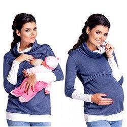 Грудное вскармливание для кормящих и беременных женщин кормящих топы толстовки с капюшоном с высоким воротником Теплый Джемпер Пуловер Же...