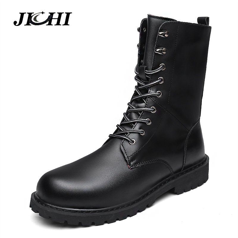 2018 Fashion Combat Boots Men Winter Footwear Martin Military Desert Boots Men's Leather Ankle Boots Men Snow Boots Big Size 2018 fashion combat boots men winter footwear martin military desert boots men s ankle boots snow shoe work plus size