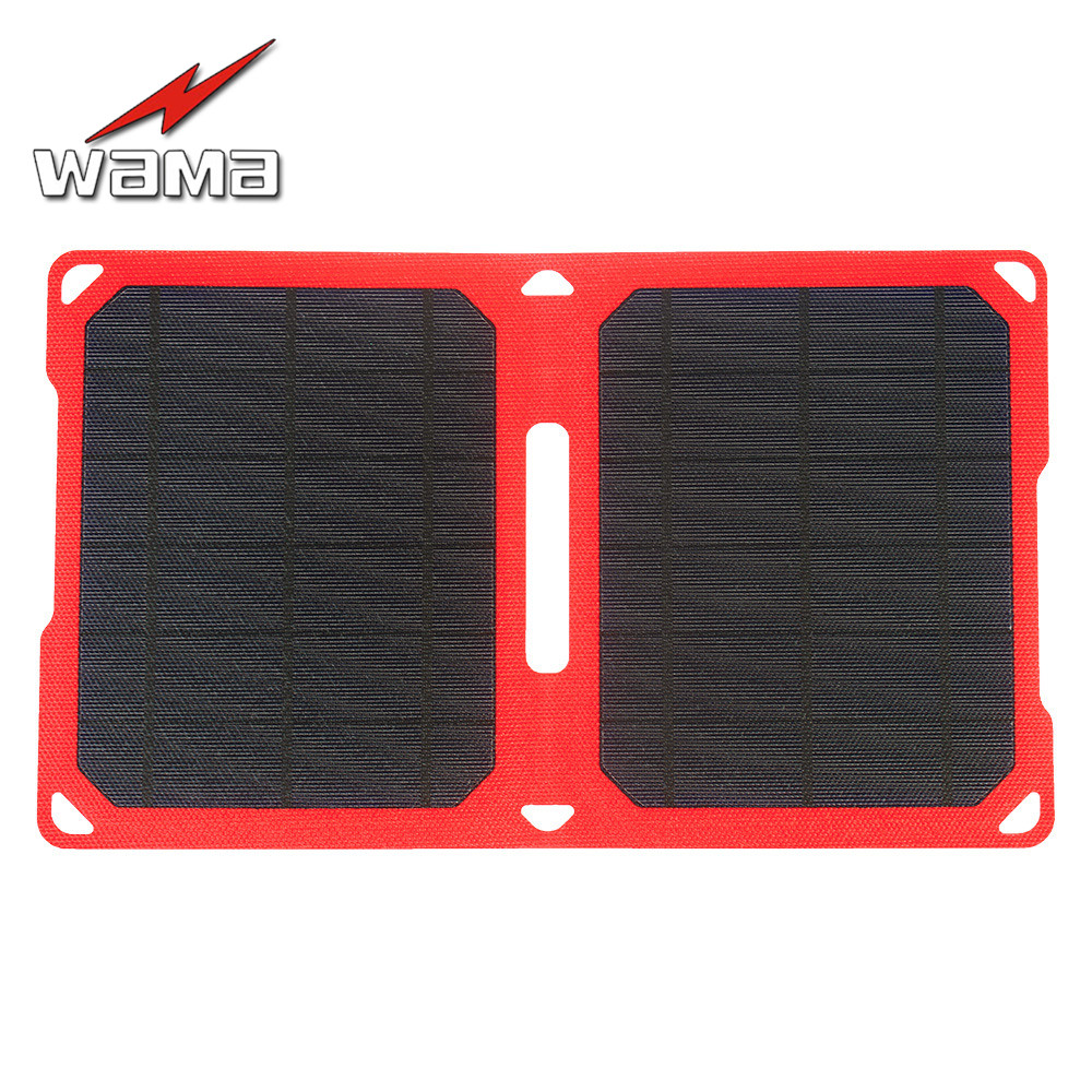 1x Wama Foldable Camouflage Charger 10W Solar Panels for Power Bank Dual-USB Output Outdoors IPX5 Waterproof
