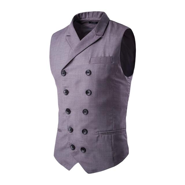 2016 Cinza Mens Double Breasted Colete Dos Homens Vestido de Terno Colete homens Terno Formal Colete Gilet Vest Magro Jacket Negócios Tops homme