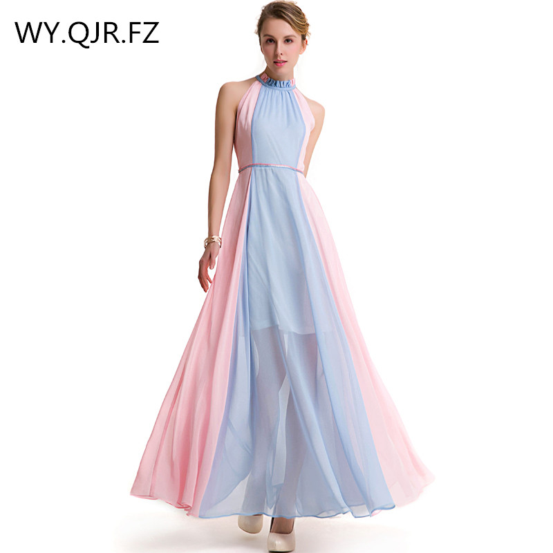 MCQY626#Halter new   Evening     dresses   for 2019 long pink assorted colors chiffon bride's Graduation toast   dress   cheap wholesale