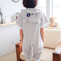 Women Summer Pajama Animal Grey Totoro Cosplay Hoodie Cotton Onesies Sleepwear Short Sleeve Costume