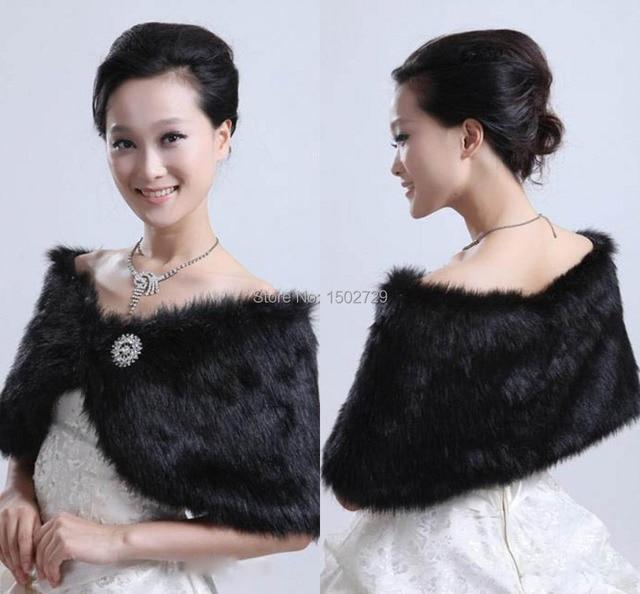 Hot Sale Preto Bolero Jacket Vestido de Casamento Jaquetas de Noiva Xaile da Pele Do Falso Capa De Noiva Festa de Formatura Formal Casacos de Casamento Tippet