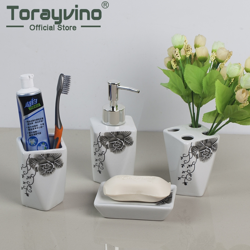 Torayvino 4 Satze Badezimmer Set Seifenschale Dispenser Tumbler Zahn