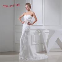 NIXUANYUAN 2017 Sweetheart See Though Sexy Bridal Wedding Gown Appliques Mermaid Wedding Dress 2017 Beaded Vestido