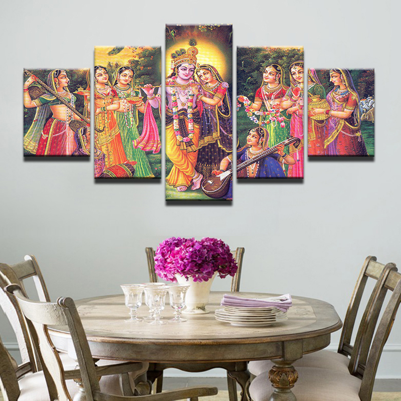 Leinwand Gemlde Wandbilder Modulare Rahmen Home Decor Wohnzimmer 5 Stcke Indien Mythos Lord Krishna Poster Vishnu