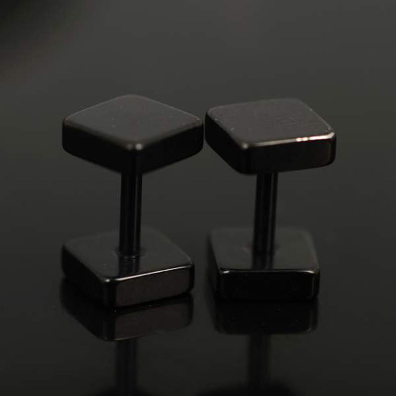 Punk Gothic 1 Pair Stainless steel Plain Black Sliver Color Men Square Style Bar Screw Studs Earrings Men Gift